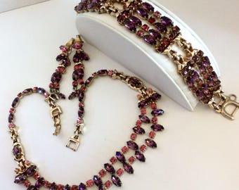 Barclay Necklace Bracelet Earrings -  Purple Red  Rhinestone - Jewelry Set - DemiParure - 50's Necklace Set