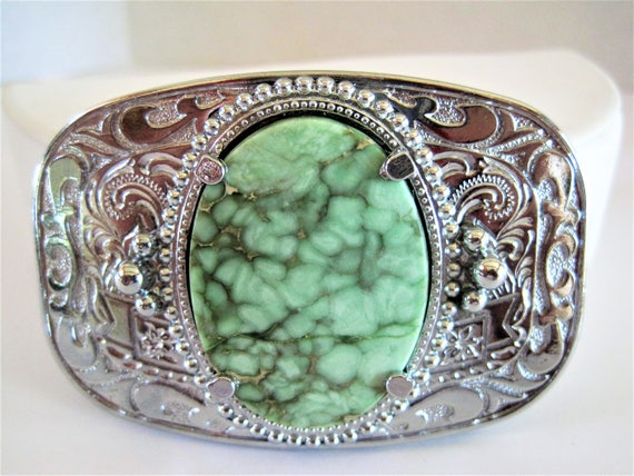 Green Agate Buckle -  Silver Tone Metal -  Belt Buckle - Men's Accessory - NOS