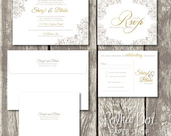 Taupe/Beige and Gold Roses Floral Simple but Elegant Wedding Invitation