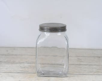 Medium Size Decorative Clear Square Glass Jar Canister Lid Craft Storage