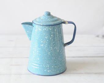 Vintage Coffee Pot Blue White Speckle Mottled Graniteware Coffee Pot Enamelware