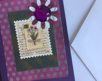 Purple & Fuschia Pink Collage Greeting Card