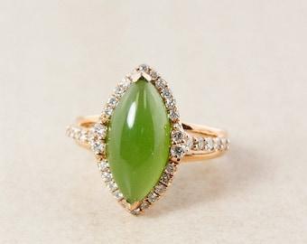 FLASH SALE Siberian Nephrite Jade and White Diamond Ring – Halo Setting Rose Gold