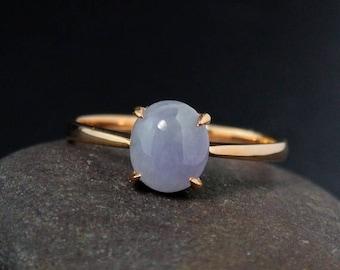 FLASH SALE Icy Lavender Jadeite Ring – Engagement Ring – 18KT Rose Gold