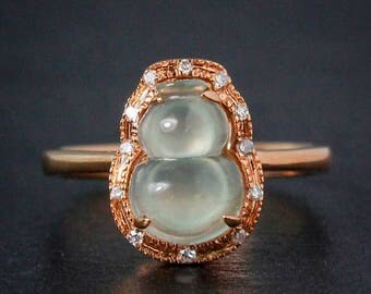 FLASH SALE Icy Jadeite Lucky Gourd Ring - 18kt Rose Gold - Diamond Accent