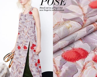 """100% Silk Crepe de Chine, floral print, 45"""" 14m/m,  Silk Fabric for summer dresses,shirts, skirt, scarves, by the yard"""
