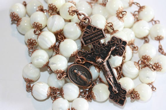 Large 10mm White Sea Shell in Copper Handmade Rosary Handmade in  Oklahoma 5 decade Pardon Crucifix