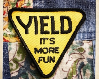 YIELD: It's More Fun – Authentic Vintage 60s 70s Triangle Patch Hippy Hippie Boho