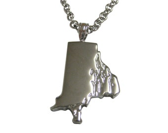 Rhode Island State Map Shape Pendant Necklace
