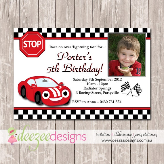 racing car birthday invitation with photo you print bd055b by