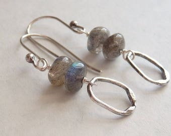 Sterling Silver Labradorite Earrings with Hammered Fine Silver Drop, Blue-Grey Gemstone, Unusual Gemstone Jewelry