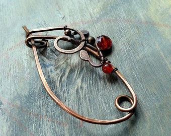 Small Wire Shawl Pin Copper Scarf Sweater Pin Hand Forged Fibula Wire Wrapped Jewelry Wire Work Handmade Brooch Red Stone Pin