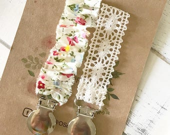 Pacifier Clip SET OF TWO/ Floral and Ivory Lace Vintage Newborn/ Baby Girl Shower Gift/ Dummy Clip/ Binkie Clip/ Hippie Baby