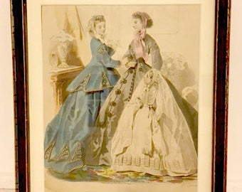 "Rare Vintage 1800s French Fashion Print, from ""Journal des Demoiselles,"" with Ladies in Period Clothing and Young Girl in Communion Dress"