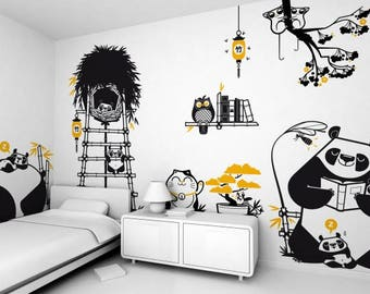 Panda Wall Decal Theme Pack Kid Wall Decal -  Panda Sticker Art Decor Removable Panda Decal