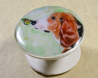 Basset Hound Phone Grip, Basset Cell Phone Holder, Basset Phone Stand, Basset Hound Gifts, Basset Mom Gifts, Basset Dad Gifts