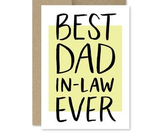 Printable Father's Day Card - Instant Download - Best Dad In-Law Ever - Card for Father in Law - Printable Fathers Day Card