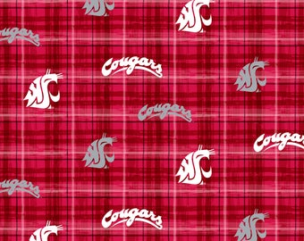 Washington State Cotton Fabric with Plaid Design-Officially Licensed-Sold by the Yard