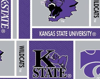 KSU Kansas State Cotton Fabric with Herringbone Geometric Design- 100% cotton fabric-Sold by the Yard