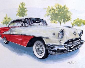 Classic Rocket 88 1955 Oldsmobile Original Painting Art Print