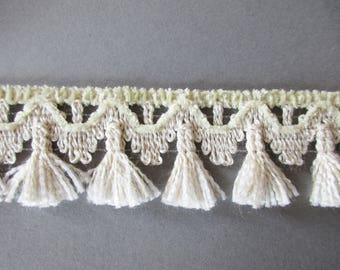 German Vintage Beige Rustic Fabric Border Trim with Chenille Ornamental Trimmings for Lampshades Curtains, Supply