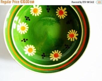 SUMMER SALE - Lovely German Vintage Rustic Folk Art Handmade Flower Pottery Cermic Plate - Kitchen Wall Decor
