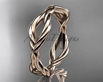 14k rose gold rope wedding band RP898G