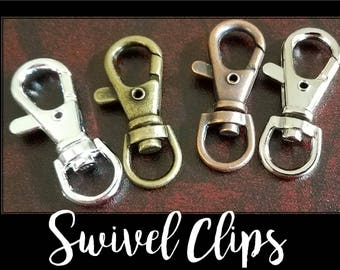100 - 4 Color Options - Large, Swivel Key Ring Clips, Handbag Clips, Swivel Charm Clip, Heavy, Sturdy - Split Ring Key Rings Sold Separately