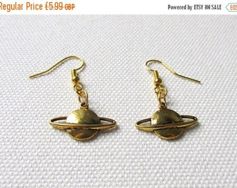 Gold Saturn Earrings Planet Dangle Earrings Space Jewelry