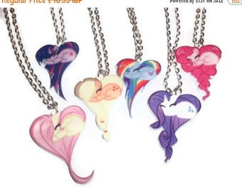 My Little Pony Necklace Set, 7 Heart Shape Pony Necklaces