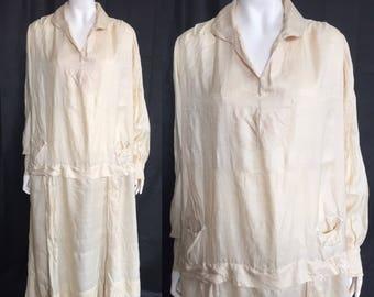 1920s raw silk day dress Volup - flapper