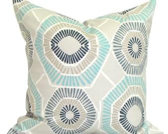 Pillow, Throw Pillow, Pillow Cover, Cushion, Decorative Pillow,Blue Pillows, Aqua Tan Blue Pillow.Blue Toss. All Sizes,,cm. Cushion Cover