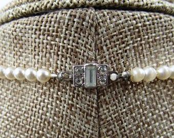 Vintage Art Deco Pearl Necklace,  Vintage Richelieu Graduated Pearl Necklace with Art Deco Clasp, June Birthstone, Vintage Wedding Necklace