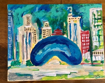 Chicago Bean and Downtown painting