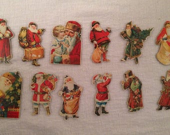 Lot 12 Pressed Paper/Cardboard Vintage Feather Tree Christmas Ornaments SANTA