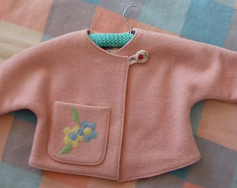 peach woollen baby jacket sustainably made vintage lining