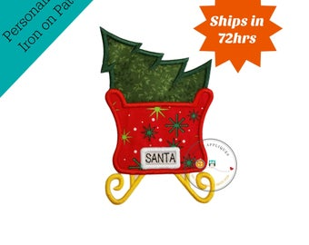 Santa's red sleigh with green Christmas tree machine embroidered fabric iron on no sew patch, ready to ship holiday applique