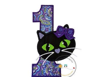 ON SALE NOW Jade kitty face with purple oil spill pattern birthday number 1 - iron embroidered fabric applique patch embellishment- ready to