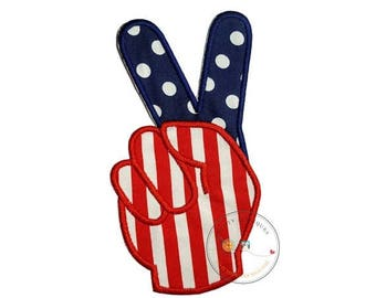 ON SALE NOW American flag peace sign fingers iron-on applique in red, white, and blue with matching red and blue embroidery thread and cotto