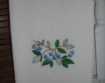Blueberry Flour Sack Towel. Machine Embroidered.