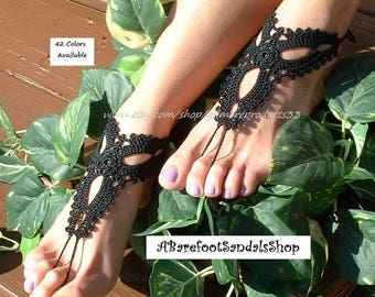 STUNNING Black Barefoot Sandals Crochet Anklet LOVELY Beach Wedding Barefoot Sandals Shoes SIZED Foot Jewelry Striking Toe Sandals for Beach