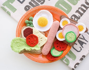 Crochet Breakfast, Crochet Sandwich, Crochet Play Food,  Pretend Play, Crochet Food, Kitchen Decor