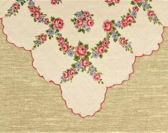 Pink Floral Hankie - Vintage Rose Flower Blue Scalloped Edge Handkerchief