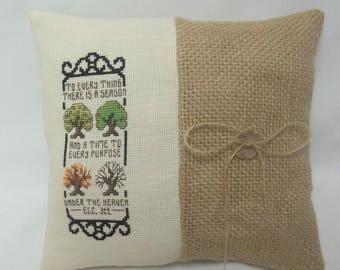 There Is A Season Cross Stitch Mini Pillow Ecc. 3:1 Bible Verse Christian Shelf Pillow