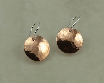 Hammered Copper Earrings, Medium Earrings, Copper Disc Earrings, Hammered Earrings, Mixed Metal Earrings