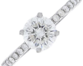 1.63ct Round Cut Under Halo U-Prong Pave Diamond Engagement Ring - GIA CERTIFIED