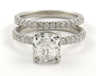 3.20ct Natural Cushion Pave Diamond Engagement Bridal Set - GIA Certified