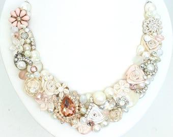 Blush Bridal Necklace- Rose Gold Necklace- Blush Wedding Necklace- Brass Boheme- Rose Gold Bridal Bib- Blush Statement Bib- Blush Bridal Bib