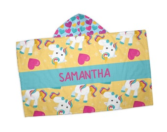 "Personalized Hooded Towel for Kids - Baby Unicorn Teal Bar Name Hearts, 24"" x 42"" Hooded Beach Towel"
