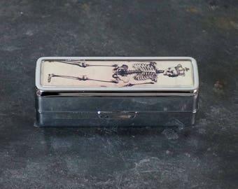 Handmade Lipstick Holder Lipstick Container Lipstick Holder with Mirror Skeleton Gothic
